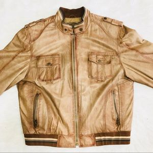 Genuine Turkish leather world map jacket